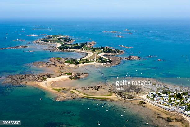 Aerial view of Carantec Finistere department Brittany View over 'ile Callot' island which can be reached by a submersible road