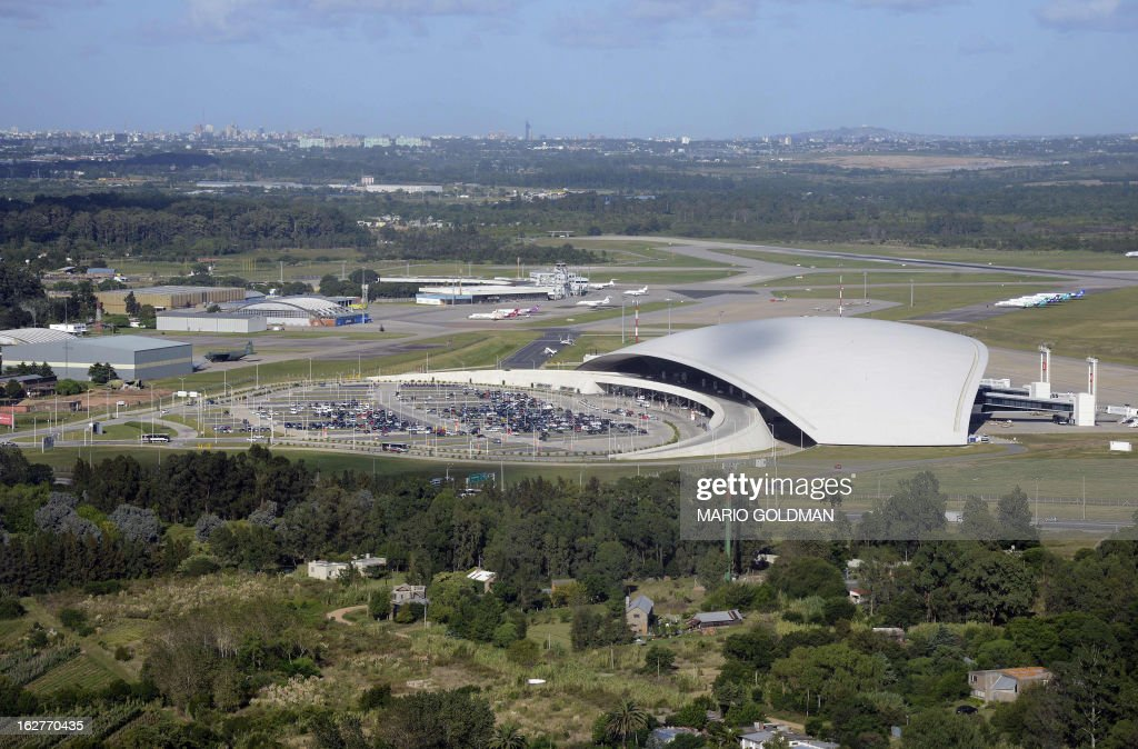 Aerial view of Carrasco International Airport in Montevideo, on February 26, 2013. AFP PHOTO/Mario Goldman