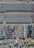Aerial view of cars in storage yard