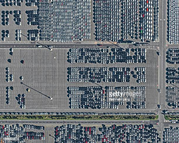 Aerial view of cars on parking lot
