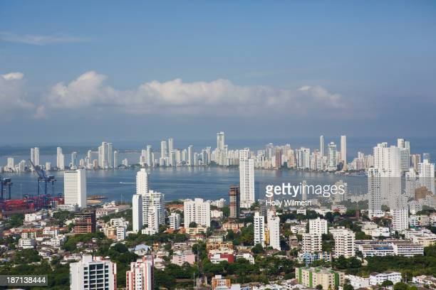 Aerial view of Cartagena skyline, Cartagena, Colombia