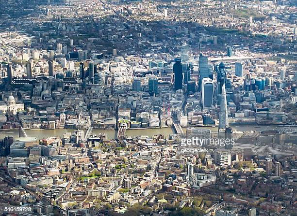 Aerial view of central London with City landmarks