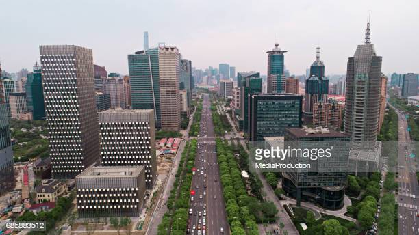 Aerial view of Central Pudong Shanghai China