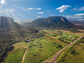 Aerial view of Cerro Paraguari. These Mountains are one of most iconic landmarks in Paraguay.