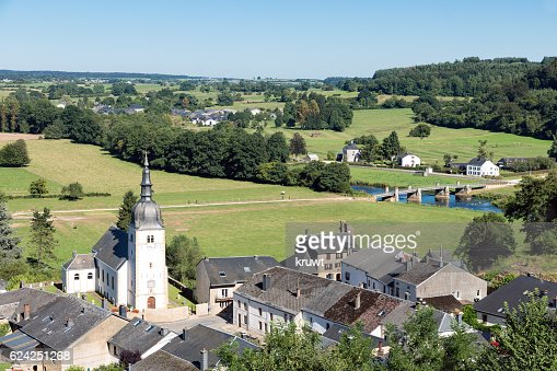 Aerial view of Chassepierre, picturesque village in Belgian Ardennes : 스톡 사진