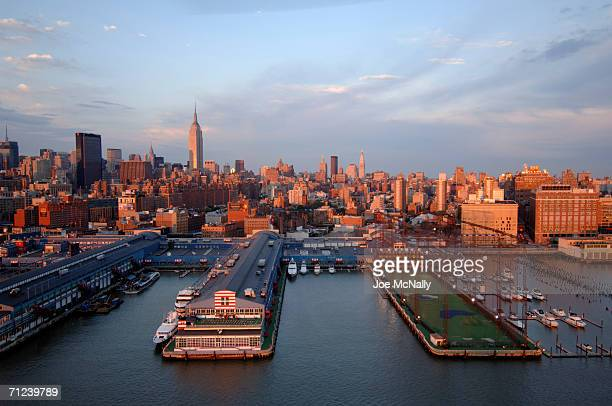 Aerial view of Chelsea Piers golf driving range on the Hudson River May 30 2005 in New York City
