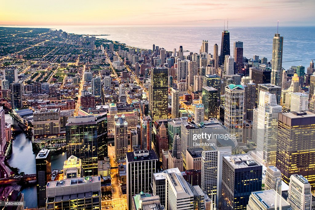 Aerial View of Chicago at Dusk : Stock Photo
