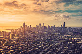 Aerial view of Chicago Downtown with light leaks, vintage colors