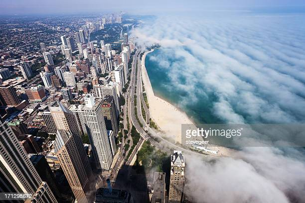 Vista aérea de Chicago Lakeshore con nubes