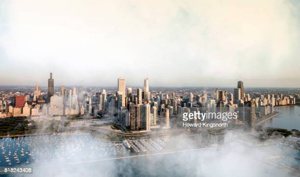 Aerial view of Chicago waterfront with misty sky