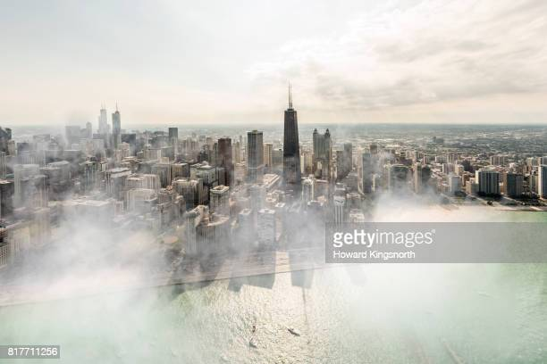 Aerial view of Chicago with misty sky