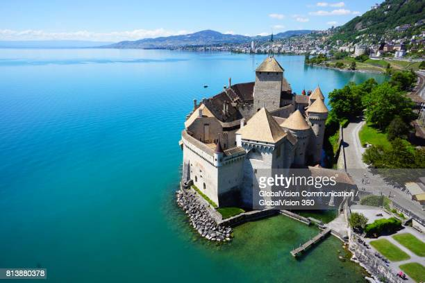 Aerial View of Chillon Castle in Switzerland