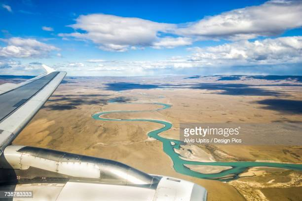Aerial view of China River as plane lands in El Calafate, Argentinian Patagonia