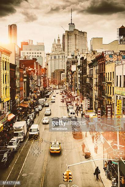 Aerial view of Chinatown in New York City