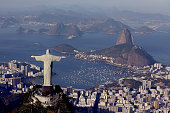 Aerial view of Christ the Redeemer Flamengo Beach the Sugar Loaf and Guanabara Bay with one year to go to the Rio 2016 Olympic Games on August 5 2015...