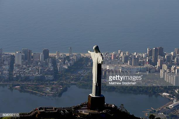 Aerial view of Christ the Redeemer Lagoa Rodrigo de Freitas and Ipanema Beach on February 2 2016 in Rio de Janeiro Brazil