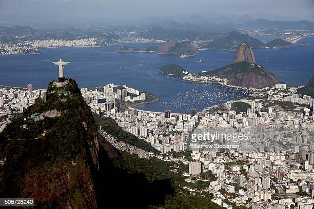 Aerial view of Christ the Redeemer the Sugar Loaf and Guanabara Bay with six months to go to the Rio 2016 Olympic Games on February 5 2016 in Rio de...