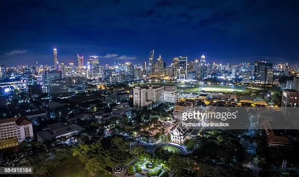 Aerial view of Chulalongkorn University and Bangkok Cityscape at Night