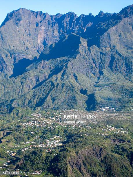 Aerial view of Cilaos and Piton des Neiges, Reunion island