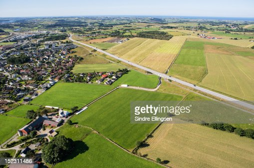 Aerial view of city and farmland, Sandnes : Stock Photo