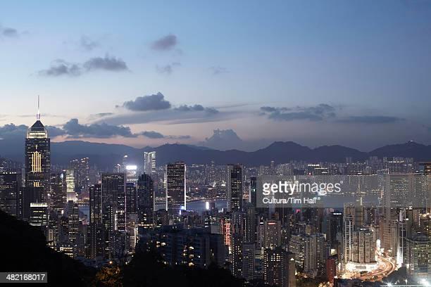 Aerial view of  city at dusk, Hong Kong, China
