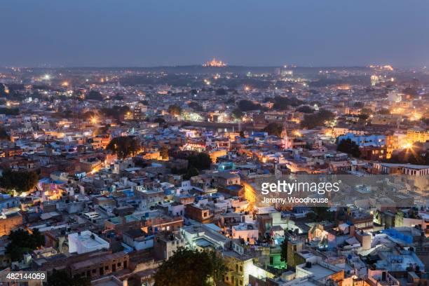Aerial view of city at dusk, Jodhpur, Rajasthan, India