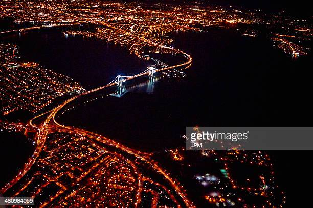 Aerial view of city at night, Miami, Florida, USA