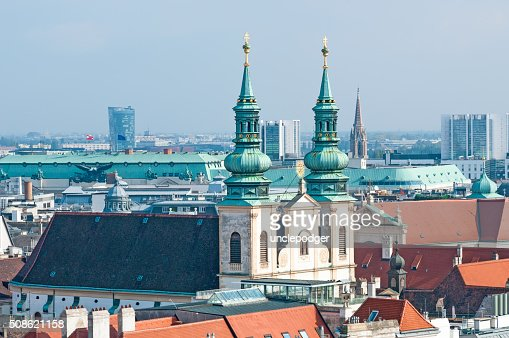 Aerial view of city center Vienna from St. Stephen's Cathedral : Stock Photo