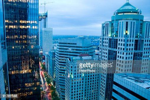 空から見たシティのダウンタウン