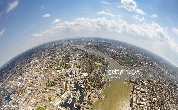 United Kingdom, England, London, Aerial view of city with curving River Thames