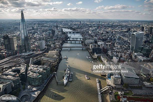 Aerial view of City of London over the River Thames, London, England, UK
