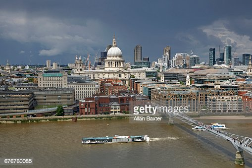 Aerial view of City of London with St Paul's