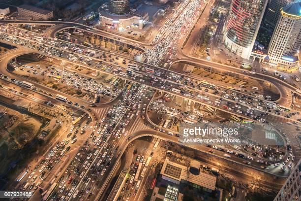 Vue aérienne de la ville d'embouteillage