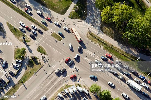 Aerial view of city traffic