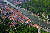 Aerial view of city with Neckar River and castle.
