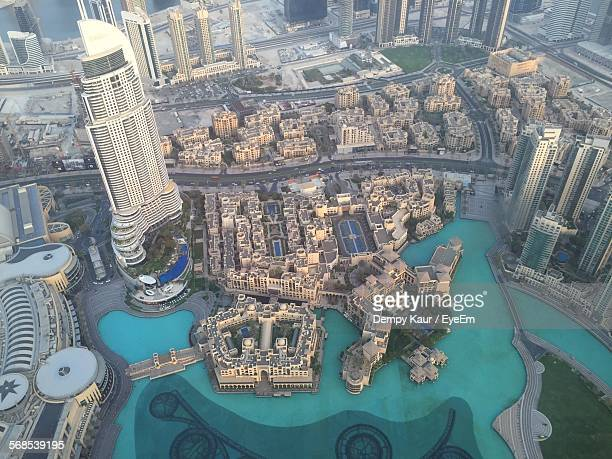 Aerial View Of Cityscape With The Dubai Fountain