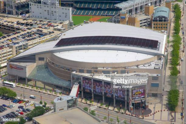 Aerial view of Cleveland's basketball stadium