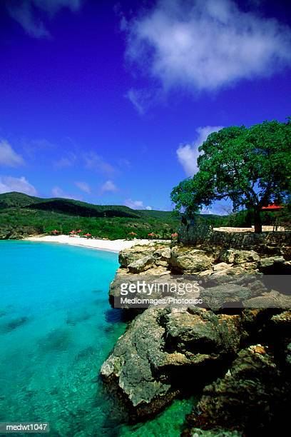 Aerial view of cliffs and Knip Beach. Curacao, Caribbean
