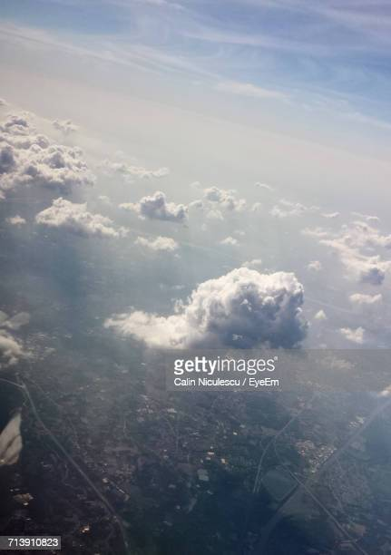 Aerial View Of Clouds Over City