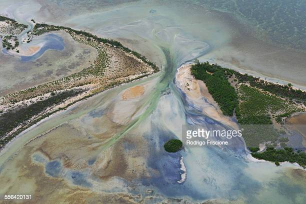 Aerial view of coast and sea at Sian Kaan natural reserve, Quintana Roo, Mexico