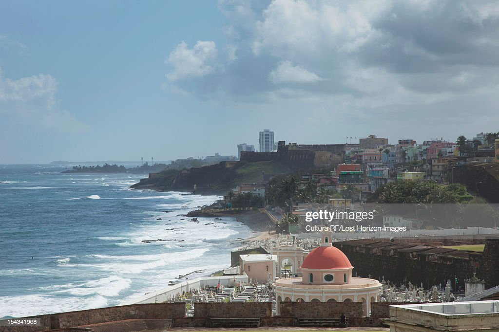Aerial view of coastal city and castles : Stock Photo
