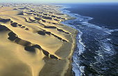 Aerial view of coastal dunes, Namib Desert, Namibia