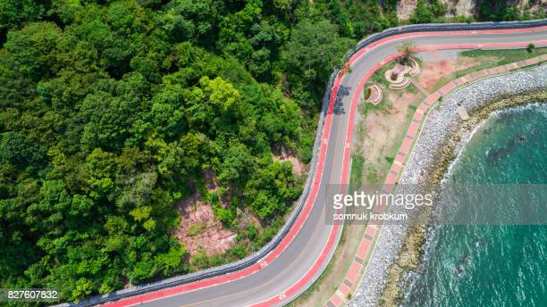 Aerial view of Coastal road with bicycle lane