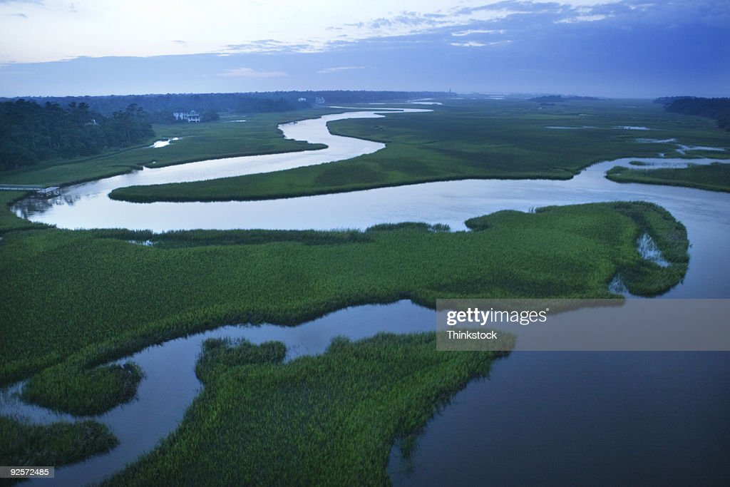 Aerial view of coastal waterway, Bald Head Island, North Carolina