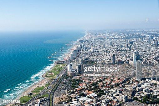 Aerial view of coastline and city, Tel Aviv, Israel