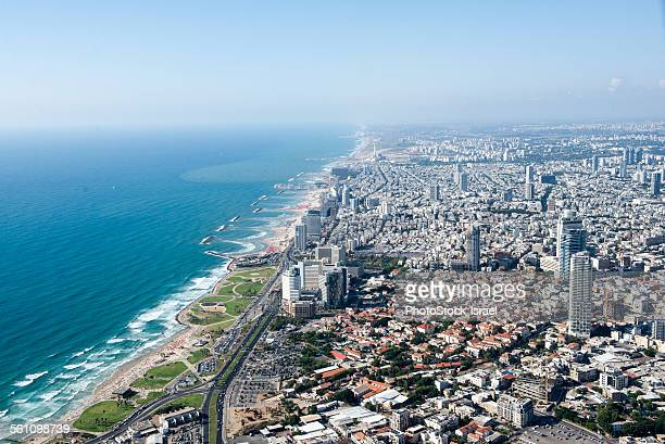 Aerial view of coastline and city, Tel Aviv, Israel