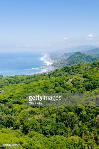 Aerial view of coastline near Dominical, Costa Rica : Stock Photo