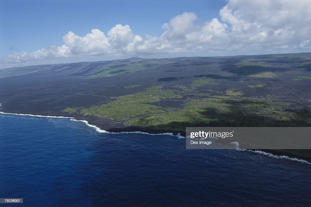 Aerial view of coastline on Big Island, Hawaii : Stock Photo