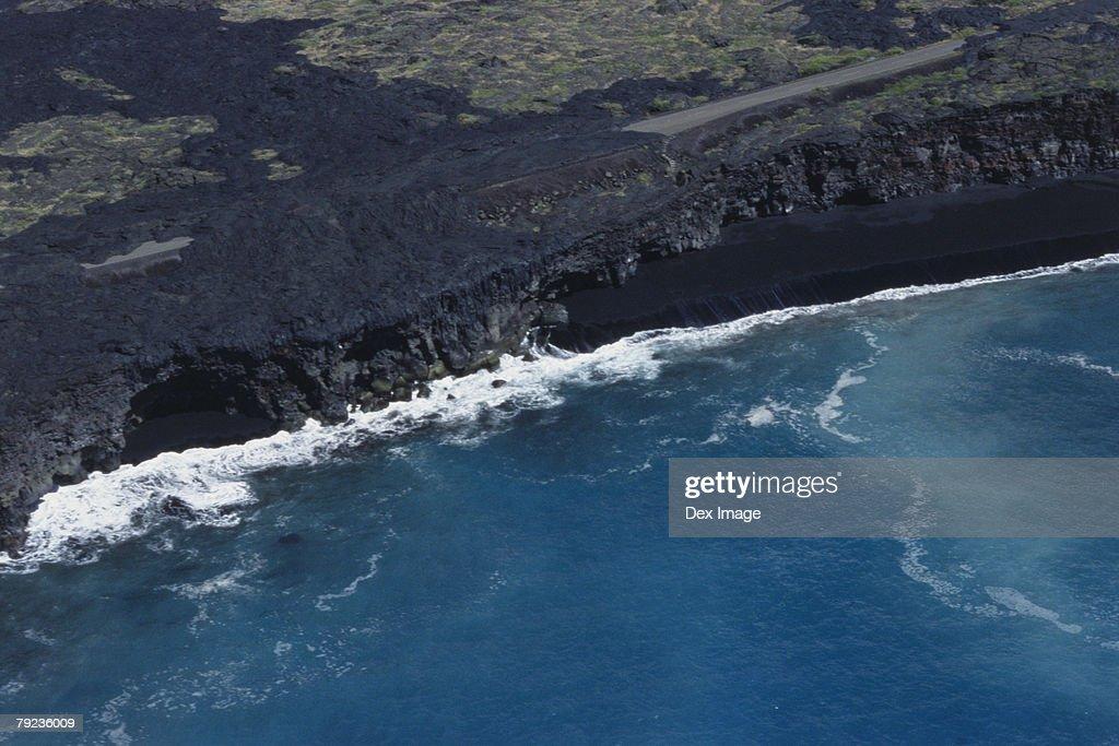 Aerial view of coastline on Big Island, Hawaii : Stock Photo