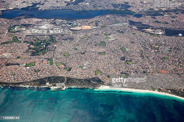Aerial view of coastline, Perth, Australia